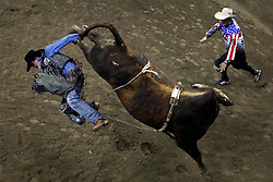 --- rides ---during the Professional Bull Riders, Built Ford Tough Series at the Sprint Center, Saturday, Feb. 11, 2017, in Kansas City, Mo. (AP Photo/Colin E. Braley)