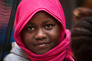 A Sudanese refugee girl  waits her turn during Refuge Egypt medical clinic baby wellness checkups December 14, 2017 at the All Saints Cathedral office in the Zamalek district of Cairo, Egypt.