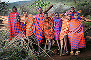 Maasai teenage boys attend the circumcision ceremony of one of their peers.