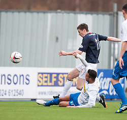 Falkirk's Conor McGrandles shots.<br /> Falkirk 1 v 1 Morton, Scottish Championship game today at The Falkirk Stadium.<br /> &copy; Michael Schofield.