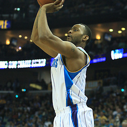 19 January 2009: New Orleans Hornets guard Morris Peterson (9) shoots a three pointer during a NBA regular season game between the Indiana Pacers and the New Orleans Hornets at the New Orleans Arena in New Orleans, LA. .