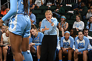 January 20, 2019: Head coach Sylvia Hatchell of North Carolina in action during the NCAA basketball game between the Miami Hurricanes and the North Carolina Tar Heels in Coral Gables, Florida. The 'Canes defeated the Tar Heels 76-68.
