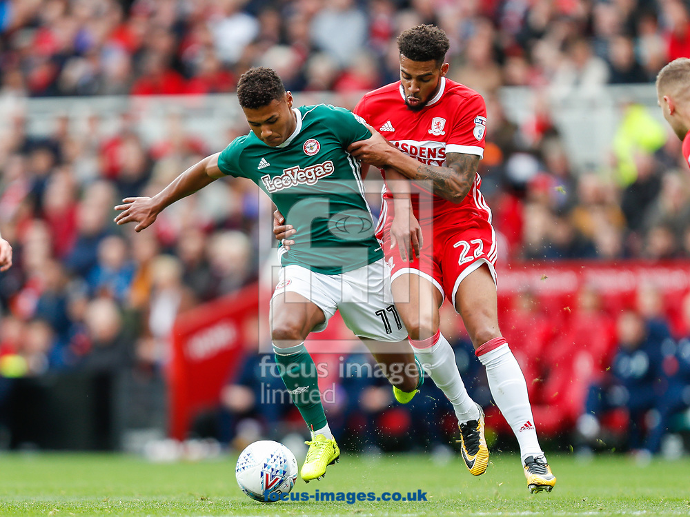 Ollie Watkins of Brentford and Cyrus Christie of Middlesbrough during the Sky Bet Championship match between Middlesbrough and Brentford at the Riverside Stadium, Middlesbrough<br /> Picture by Mark D Fuller/Focus Images Ltd +44 7774 216216<br /> 30/09/2017