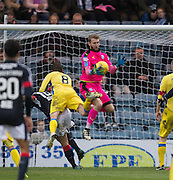 Dundee keeper Scott Bain clutches the ball under pressure from St Johnstone&rsquo;s Murray Davidson - Dundee v St Johnstone in the Ladbrokes Scottish Premiership at Dens Park, Dundee - Photo: David Young, <br /> <br />  - &copy; David Young - www.davidyoungphoto.co.uk - email: davidyoungphoto@gmail.com