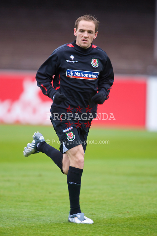 HELSINKI, FINLAND - Friday, October 9, 2009: Wales' David Vaughan during training at the Helsinki Olympic Stadium ahead of the 2010 FIFA World Cup Qualifying Group 4 match against Finland. (Pic by David Rawcliffe/Propaganda)