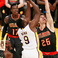 27 November 2016: Los Angeles Lakers forward Luol Deng (9) takes a jump shot over Atlanta Hawks guard Kyle Korver (26) during the Los Angeles Lakers 109-94 victory over the Atlanta Hawks, at the Staples Center, Los Angeles, California, USA.