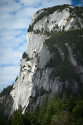 Stawamus Chief, a huge granite dome, is located near Squamish, British Columbia, Canada. Towering over 2,297 feet above nearby Howe Sound and the Sea-to-Sky Highway, it is a popular, world-class climbing destination along with other climbing spots in the Squamish area.
