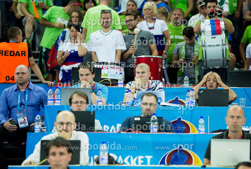 Slovenian journalists Gregor Zvab, Tile Jamnik, Gregor Terzic and Martin Pavcnik during basketball match between Slovenia and Georgia at Day 2 in Group C of FIBA Europe Eurobasket 2015, on September 6, 2015, in Arena Zagreb, Croatia. Photo by Vid Ponikvar / Sportida