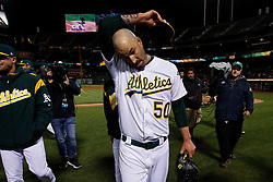 OAKLAND, CA - MAY 07: Mike Fiers #50 of the Oakland Athletics walks off the field after pitching a no-hitter against the Cincinnati Reds at the Oakland Coliseum on May 7, 2019 in Oakland, California. The Oakland Athletics defeated the Cincinnati Reds 2-0. (Photo by Jason O. Watson/Getty Images) *** Local Caption *** Mike Fiers