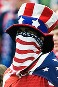 11 July 2009: A fan watches warm ups before the start of the match up between USA and Haiti in the CONCACAF Gold Cup group B game at Gillette Stadium in Foxborough, MA.