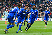 Goal - Victor Camarasa (21) of Cardiff City celebrates scoring a goal to give a 1-0 lead to the home team during the Premier League match between Cardiff City and Chelsea at the Cardiff City Stadium, Cardiff, Wales on 31 March 2019.
