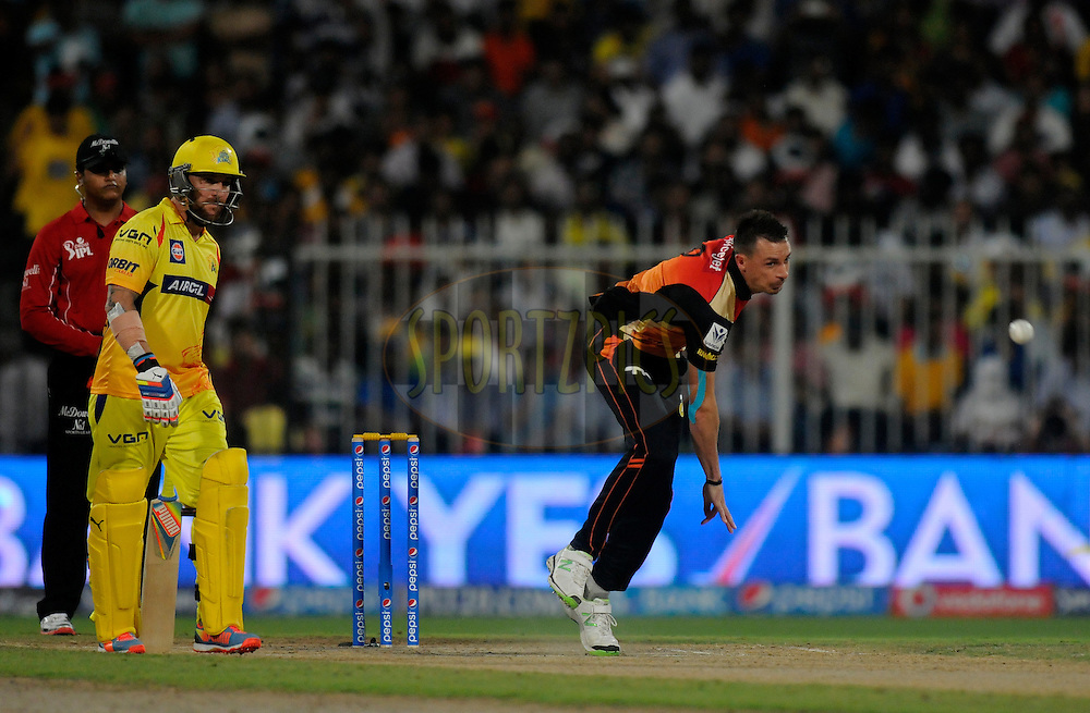 Dale Steyn of the Sunrisers Hyderabad  bowls during match 16 of the Pepsi Indian Premier League 2014 between the Delhi Daredevils and the Mumbai Indians held at the Sharjah Cricket Stadium, Sharjah, United Arab Emirates on the 27th April 2014<br /> <br /> Photo by Pal Pillai / IPL / SPORTZPICS