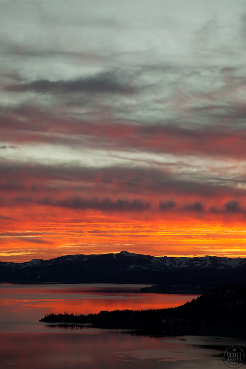 """Sunset at Lake Tahoe 19"" - This orange and yellow sunset at Lake Tahoe was photographed from the vista point on Hwy  431, or Mount Rose Highway."