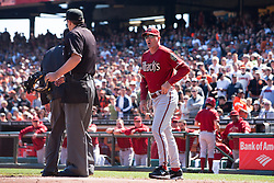 September 4, 2011; San Francisco, CA, USA;  Arizona Diamondbacks manager Kirk Gibson (right) argues with MLB umpire Brian Knight (center, front) after right fielder Justin Upton (not pictured) was ejected during the fourth inning against the San Francisco Giants at AT&T Park. Arizona defeated San Francisco 4-1.