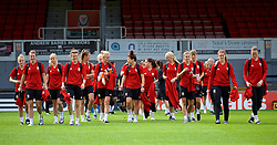 NEWPORT, WALES - Thursday, August 30, 2018: Wales players after a training session at Rodney Parade ahead of the final FIFA Women's World Cup 2019 Qualifying Round Group 1 match against England. (Pic by David Rawcliffe/Propaganda)