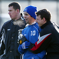 St Johnstone Training...10.01.03    Alan Main still at St Johnstone despite all the rumours enjoys training this morning in the bitter cold, pictured with Paul hartley and John Robertson<br />