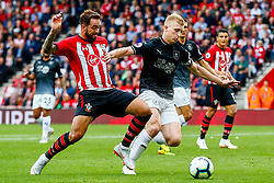 Danny Ings of Southampton is challenged by Ben Mee of Burnley - Mandatory by-line: Ryan Hiscott/JMP - 12/08/2018 - FOOTBALL - St Mary's Stadium - Southampton, England - Southampton v Burnley - Premier League