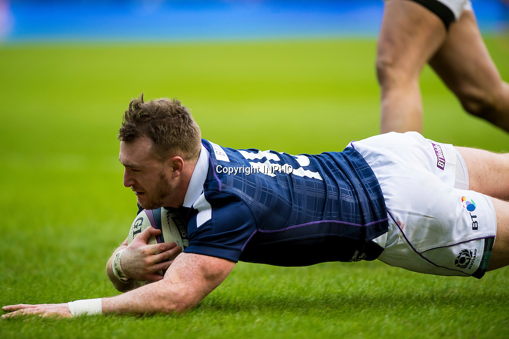 RBS 6 Nations Championship Round 1, BT Murrayfield, Scotland 4/2/2017<br /> Scotland vs Ireland<br /> Scotland's Stuart Hogg scores their second try<br /> Mandatory Credit &copy;INPHO/Craig Watson