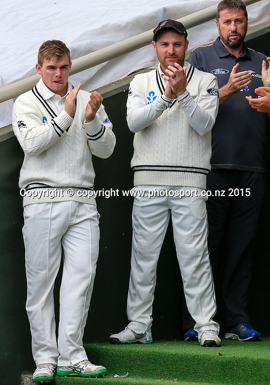 Tom Latham and Brendon McCullum. Fourth day, second test, ANZ Cricket Test series, New Zealand Black Caps v Sri Lanka, 06 January 2015, Basin Reserve, Wellington, New Zealand. Photo: John Cowpland / www.photosport.co.nz