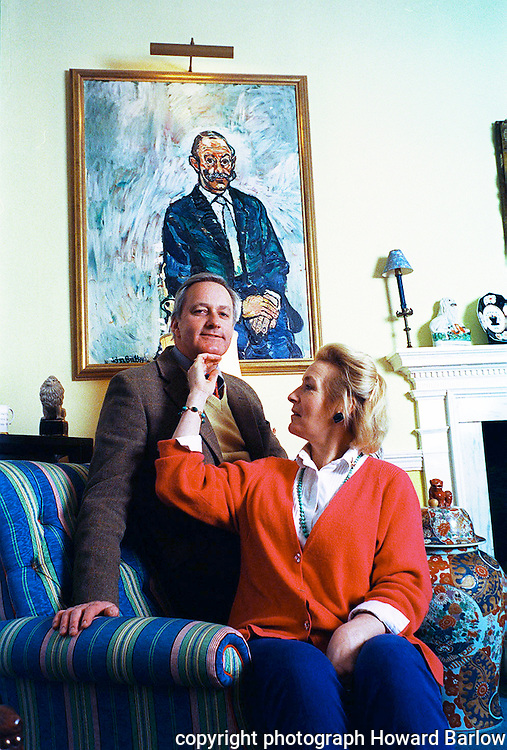 PIC BY HOWARD BARLOW ... CHIN UP....NEIL & CHRISTINE HAMILTON AT HOME IN THE OLD RECTORY  2004 ?