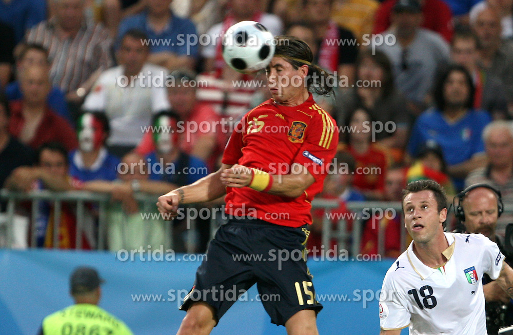 Sergio Ramos of Spain (15) during the UEFA EURO 2008 Quarter-Final soccer match between Spain and Italy at Ernst-Happel Stadium, on June 22,2008, in Wien, Austria. Spain won after penalty shots 4:2. (Photo by Vid Ponikvar / Sportal Images)