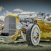 Vintage retro classic car in yellow