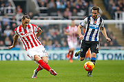 Stoke City Forward Marko Arnautovic plays the through ball during the Barclays Premier League match between Newcastle United and Stoke City at St. James's Park, Newcastle, England on 31 October 2015. Photo by Craig McAllister.