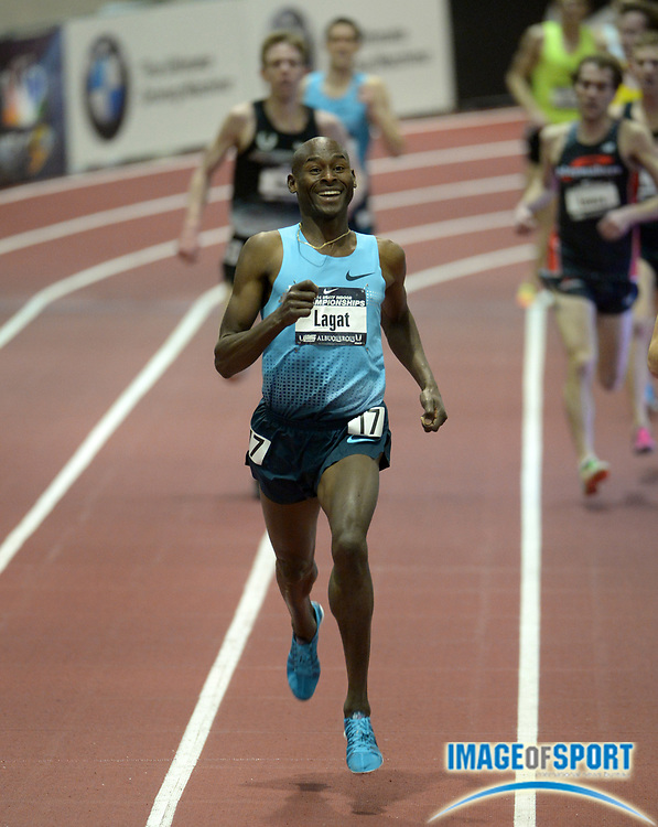 Feb 22, 2014; Albuquerque, NM, USA; Bernard Lagat wins the 3,000m in 7:46.01 in the 2014 USA Indoor Championships at Albuquerque Convention Center.