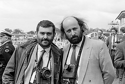 Left to right, ALAN DAVIDSON and RICHARD YOUNG at the 1986 Derby at Epsom Race Course, Surrey on 4th June 1986.