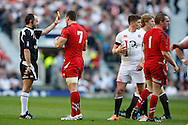 Gethin Jenkins of Wales (R) is sent to the sin bin during the RBS 6 Nations match at Twickenham Stadium, Twickenham<br /> Picture by Andrew Tobin/Focus Images Ltd +44 7710 761829<br /> 09/03/2014