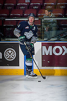 KELOWNA, CANADA - FEBRUARY 13: Turner Ottenbreit #4 of the Seattle Thunderbirds warms up with the puck against the Kelowna Rockets on February 13, 2017 at Prospera Place in Kelowna, British Columbia, Canada.  (Photo by Marissa Baecker/Shoot the Breeze)  *** Local Caption ***