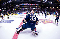 REGINA, SK - MAY 18: Max Paddock #33 of Regina Pats stretches on the ice during warm up against the Regina Pats at the Brandt Centre on May 18, 2018 in Regina, Canada. (Photo by Marissa Baecker/Shoot the Breeze)