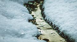 THEMENBILD - ein schmales Rinnsal fließt zwischen Schneeoberflächen, aufgenommen am 06. Februar 2019 in Kaprun, Oesterreich // a narrow trickle flows between snow surfaces in Kaprun, Austria on 2019/02/06. EXPA Pictures © 2019, PhotoCredit: EXPA/Stefanie Oberhauser