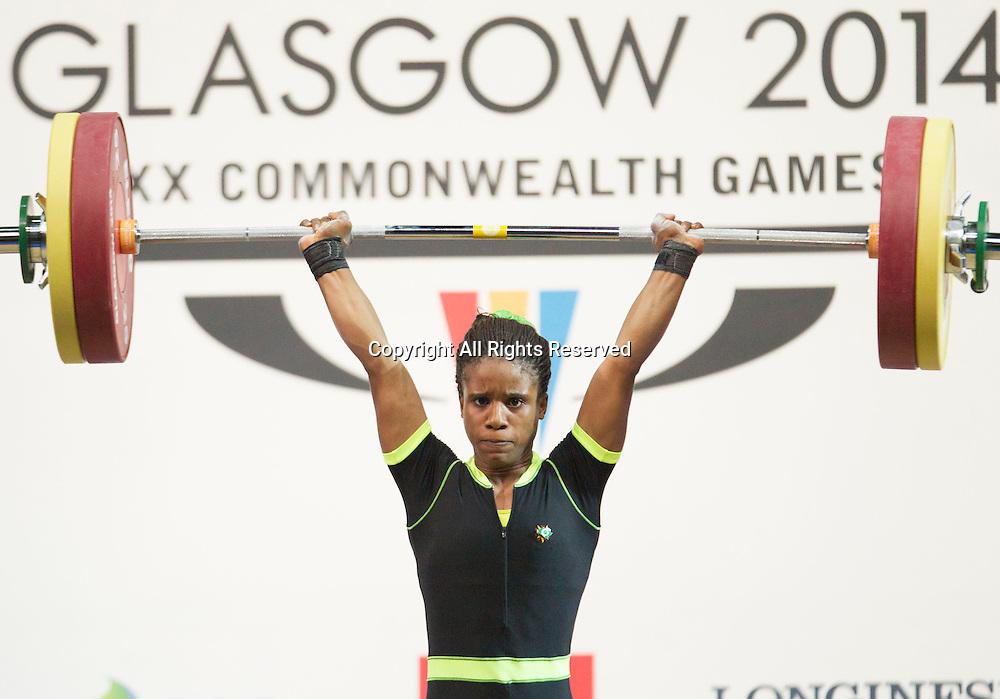 25.07.2014. Glasgow, Scotland. Glasgow Commonwealth Games. Women's 53kg Final. Nigeria's Chika Amalaha who won the event, during her winning lift