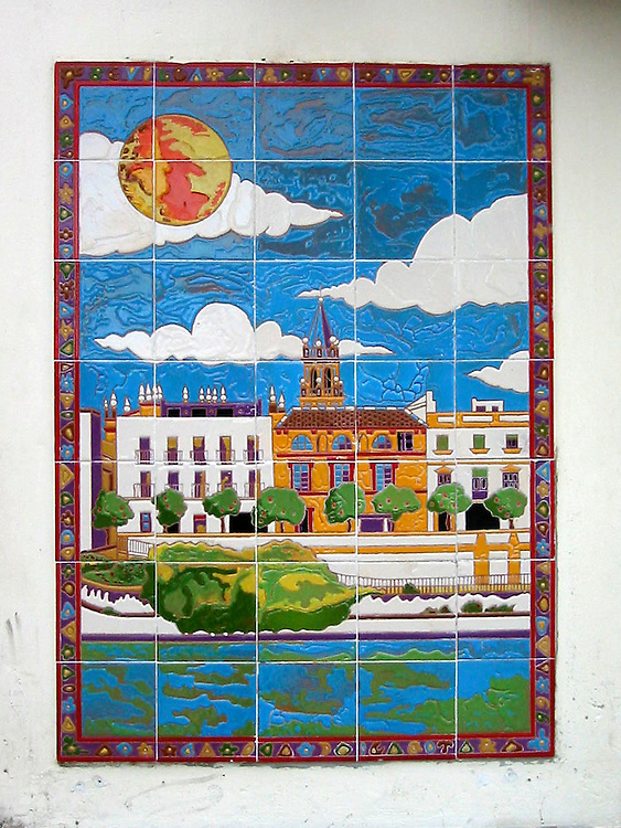 Tiles representing Seville on the side of a bar in the Andalucian capital.