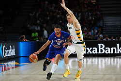 13.09.2014, City Arena, Madrid, ESP, FIBA WM, Frankreich und Litauen, Entscheidungsspiel zwischen Platz 3 und 4, im Bild France´s Diot (L) and Lithuania´s Maciulis // during FIBA Basketball World Cup Spain 2014 playoff match place 3 and 4 between France and Lithuania at the City Arena in Madrid, Spain on 2014/09/13. EXPA Pictures © 2014, PhotoCredit: EXPA/ Alterphotos/ Victor Blanco<br /> <br /> *****ATTENTION - OUT of ESP, SUI*****
