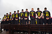 Back of the shirts of the Somerset players wearing the Vitality Blast kit at the media day at Somerset County Cricket Club at the Cooper Associates County Ground, Taunton, United Kingdom on 11 April 2018. Picture by Graham Hunt.