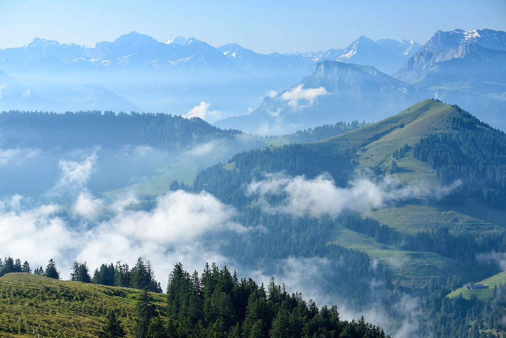 View towards the Alps from the  top of Mount Rigi,Switzerland,North-Eastern Swiss Alps, Europe
