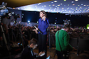 28 January 2016, Milan, Italy - Journalist prepares her stand-up during the first Europe of Nations and Freedom (ENF) congress at MiCo Congress centre in Milan.
