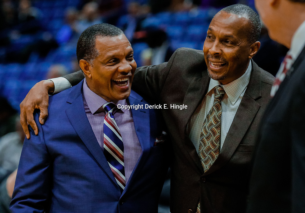 Jan 30, 2018; New Orleans, LA, USA; New Orleans Pelicans head coach Alvin Gentry and Sacramento Kings head coach David Joerger hug before a game at the Smoothie King Center. Mandatory Credit: Derick E. Hingle-USA TODAY Sports
