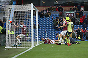 Bournemouth score but VAR takes the play back to the other end for a Burnley penalty during the Premier League match between Burnley and Bournemouth at Turf Moor, Burnley, England on 22 February 2020.