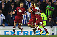 Chris Martin of Derby County (centre) celebrates scoring his team's first goal during the Sky Bet Championship play off semi final first leg at the American Express Community Stadium, Brighton and Hove<br /> Picture by David Horn/Focus Images Ltd +44 7545 970036<br /> 08/05/2014