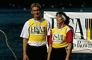FISA World Cup 1990's, at Lucerne International Regatta, Lake Rotsee, Lucerne SWITZERLAND and Henley Royal Regatta..Juri Jannson  [EST M1X] and  GER W1X. Titie JORDACHE-TARAN. FISA World cup events Lucerne and HRR Pictures from the first World Cup events, Men's and Women's singles 1990/91 FISA World Cup Lucerne and