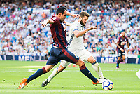 Real Madrid's player Nacho Fernandez and Eibar FC's player Kike Garcia during a match of La Liga Santander at Santiago Bernabeu Stadium in Madrid. October 02, Spain. 2016. (ALTERPHOTOS/BorjaB.Hojas)