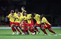 Photo: Chris Ratcliffe.<br /> Watford v Accrington Stanley. Carling Cup. 19/09/2006.<br /> Watford team celebrate the winning penalty.