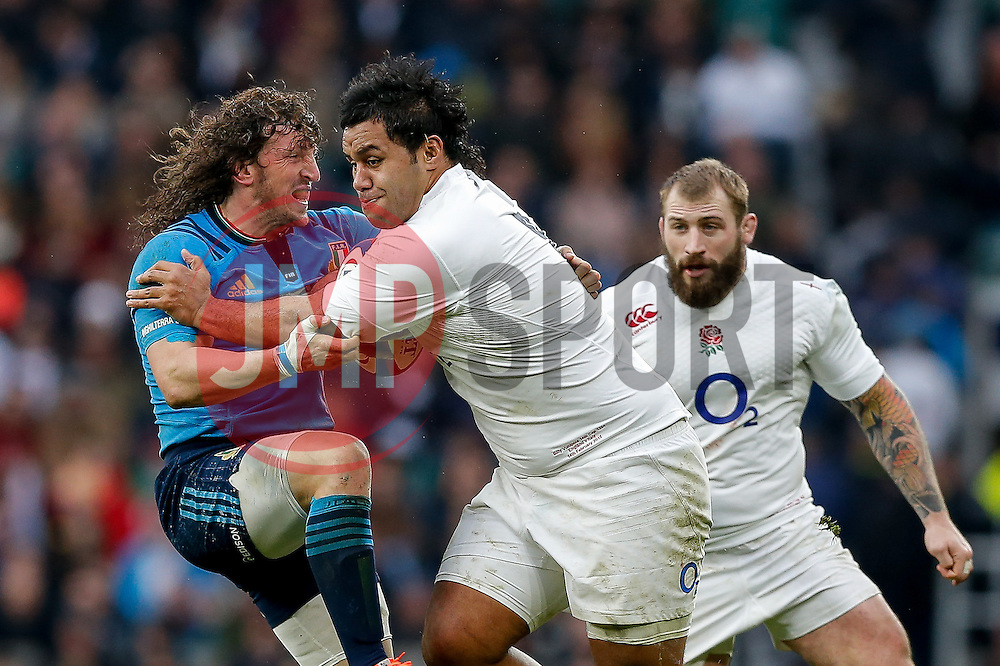 England Number 8 Billy Vunipola is challenged by Italy Flanker Mauro Bergamasco - Photo mandatory by-line: Rogan Thomson/JMP - 07966 386802 - 14/02/2015 - SPORT - RUGBY UNION - London, England - Twickenham Stadium - England v Italy - 2015 RBS Six Nations Championship.