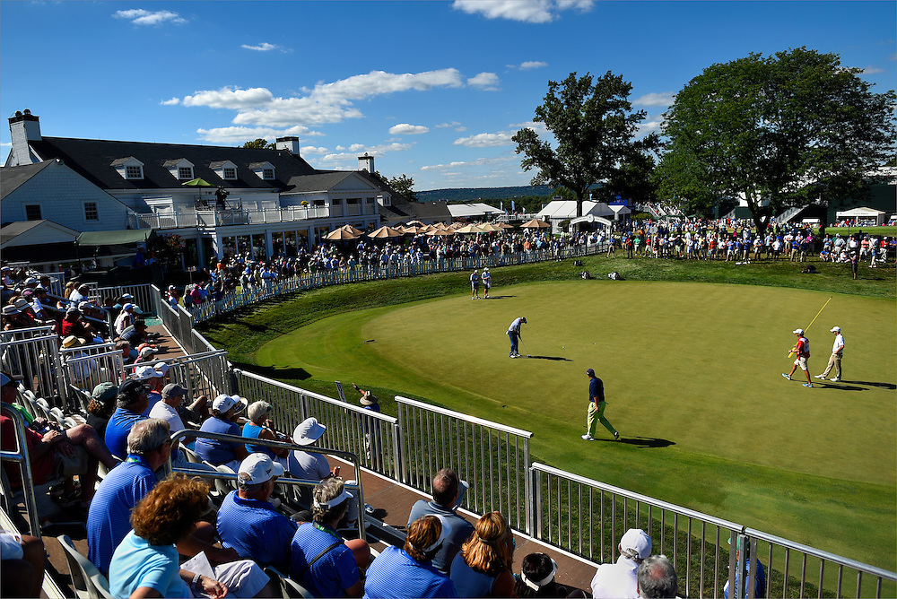 A view of the ninth green at the Barclays Championship held at Plainfield Country Club in Edison, New Jersey on August 28.