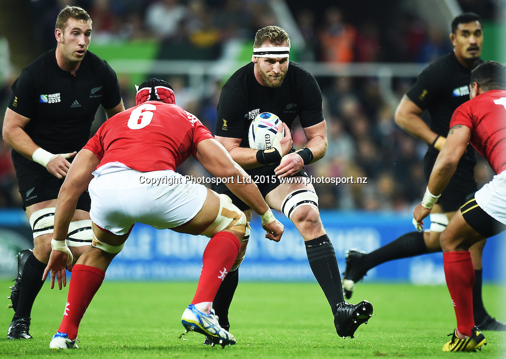 Kieran Read during the New Zealand All Blacks v Tonga Rugby World Cup 2015 match. St James' Park in Newcastle. UK. Friday 9 October 2015. Copyright Photo: Andrew Cornaga / www.Photosport.nz