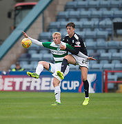 Buckie Thistle&rsquo;s Chris Angus and Dundee&rsquo;s Jack Hendry bettle for the ball  - Dundee v Buckie Thistle, Betfred Cup at Dens Park, Dundee, Photo: David Young<br /> <br />  - &copy; David Young - www.davidyoungphoto.co.uk - email: davidyoungphoto@gmail.com