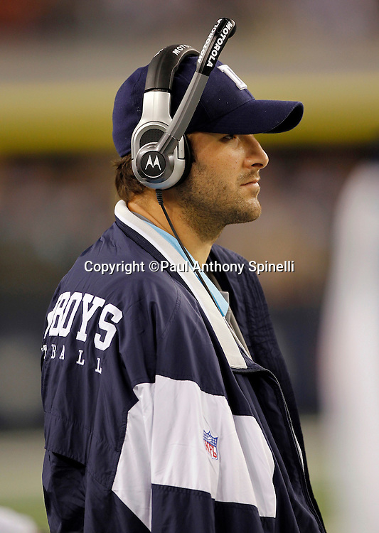 Dallas Cowboys quarterback Tony Romo (9) looks on from the bench area wearing street clothes and an arm sling after incurring a broken clavicle on a hit by a defensive player during the NFL week 7 football game against the New York Giants on Monday, October 25, 2010 in Arlington, Texas. The Giants won the game 41-35. (©Paul Anthony Spinelli)
